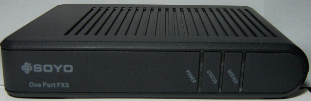 Soyo G1681 (PA168V/AG-168V) 1-port FXS gateway front view.