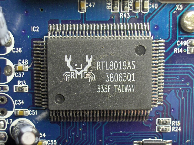 RTL8019AS chip on China Roby PB-35 IP phone inside PCB board.